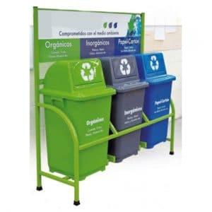 Estación para reciclar 3 contenedores de 90 litros 539012-49