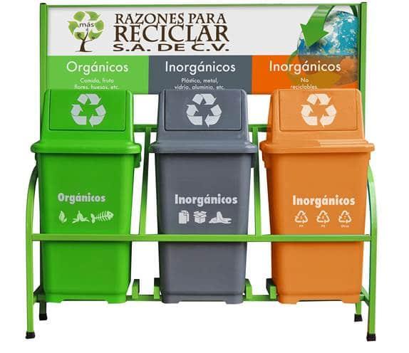 Estaci n para reciclar 3 contenedores de 90 litros 539012 49 contenedores de basura - Contenedores de basura para reciclaje ...